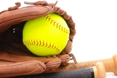 Softball Glove ball and two bats on white with copyspace